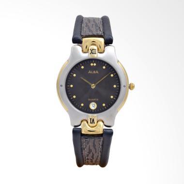 Alba Leather Jam Tangan Pria - Black Silver Gold [AXBH28]