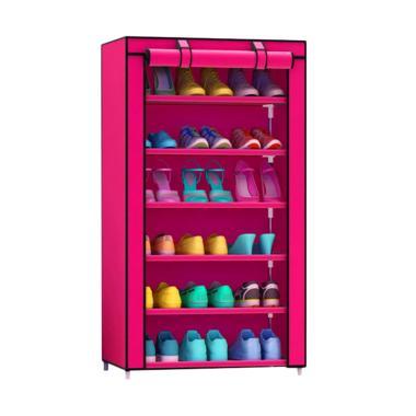 SJHOP Single 7th Rak Lemari Sepatu - Hot Pink [56 x 25 x 105 cm]