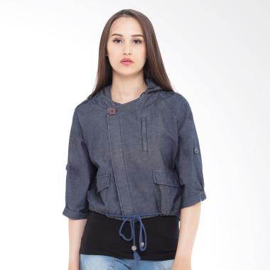 Mobile Power P7181 Ladies Denim Cropped Hoodie Jacket Wanita - Denim