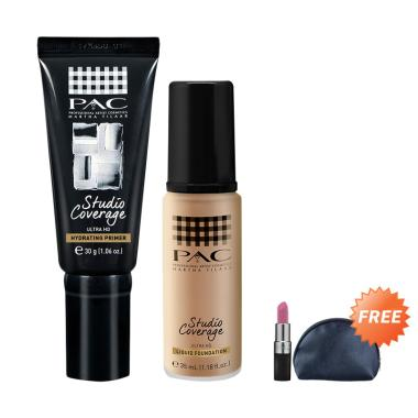 PAC Studio Coverage Primer & Liquid ... Free PAC Lipstick & Pouch