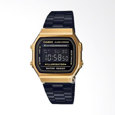 CASIO A168WEGB-1BDF Vintage Casual Jam Tangan Wanita -  Gold Black
