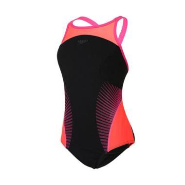 Speedo Fit Swimming Baju Renang Wanita - Black Pink [8-10890B348]