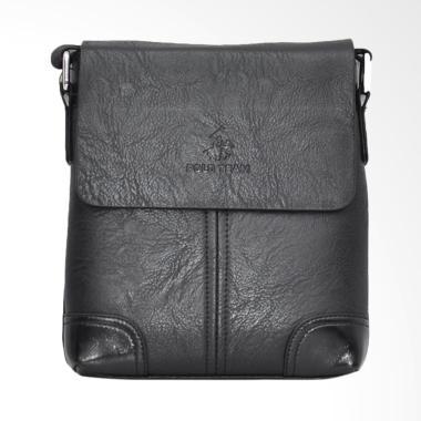 Polo Team PVC Leather Size Medium Sling Bag Tas Pria - Black [A169-2]