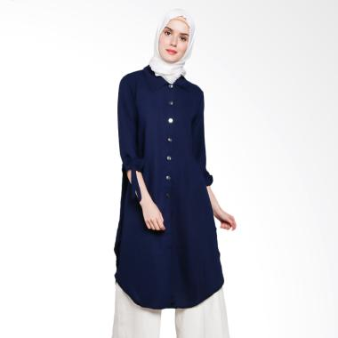 Koesoema Clothing Ashley Ribbon Sleeves Tunik Dress Wanita - Navy