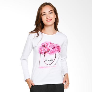 JCLOTHES Kaos Lengan Panjang Wanita Flower - Putih