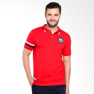 Giordano Union Jack Embroidery Polo Shirt Pria - Red [0101732289]