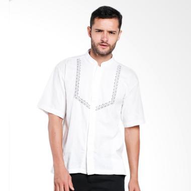 Aitana Bordir Baju Koko Pria - Putih [YN-11714-SS]