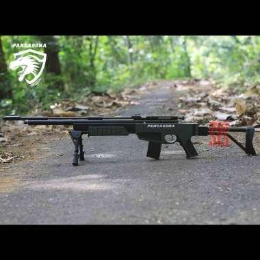 Senapan Angin PCP Pancasona Single Tabung 25/60 AK 47 Lipat Mano Hijau Hitam