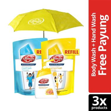 LIFEBUOY Paket Refill Cool Fresh &  ... an [225 mL] + Free Payung