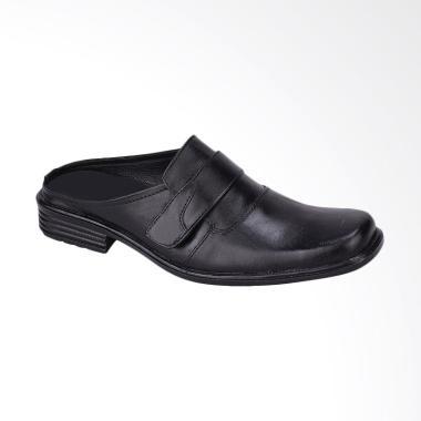 Syaqinah Sandal Sepatu Kulit Casual Pria - Hitam [606]