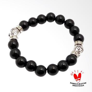 Vee 2 Kepala Budha Terapi Kesehatan Gelang Batu Giok - Hitam