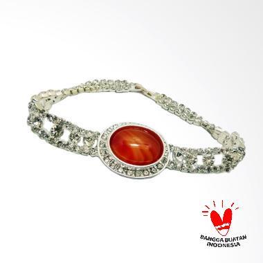 Vee Model 1 Kristal Swarovski Batu Giok Coklat Gelang Terapi Kesehatan