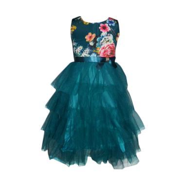 VERINA BABY Tutu Motif Flowers Dress Pesta Anak - Hijau