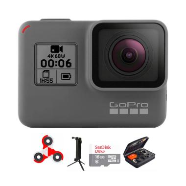 GoPro Hero 6 Combo 3 Way Deluxe 16 GB Spin Action Camera - Black