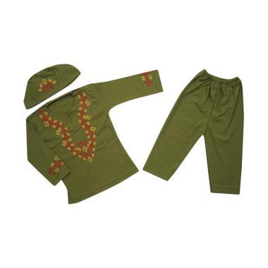 Koko Kids Setelan Baju Koko Anak Laki-Laki - Hijau Army