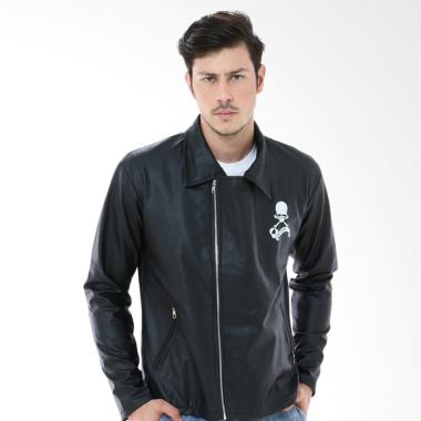 Crows Denim Kulit Trend Biker Series Jacket Pria - Hitam