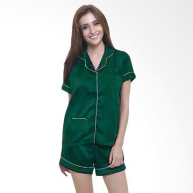 Deoclaus Silky Short Pants Piyama Baju Tidur Wanita - Green