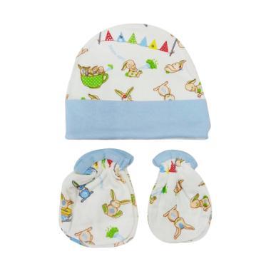 Mamimu Cute Rabbit Set Topi Sarung Tangan & Kaos Kaki Bayi - Biru