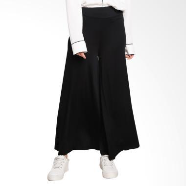 Ayda Kulot Jumbo Celana Muslim Wanita - Hitam