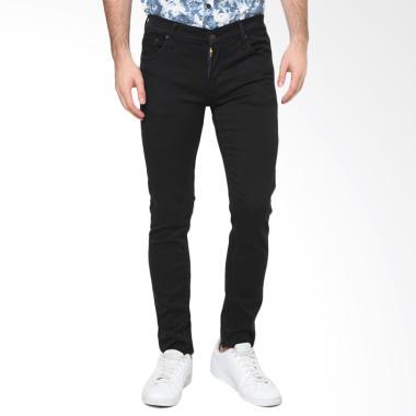 MENTLI Skinny Celana Jeans Pria - Solid Black