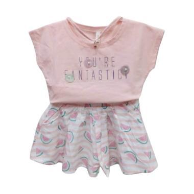 Import Kid 83007 Rok Setelan Baju Bayi Perempuan - Pink [Size 80]