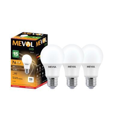 Meval Bulb Bohlam Lampu LED - Warm White/Kuning [7W/ 3 pcs]