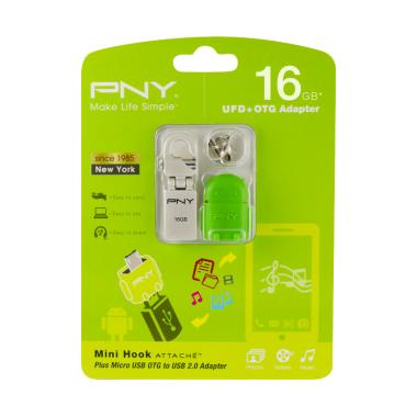 PNY Mini Hook Flashdisk with OTG Adapter Robot Green [16 GB/ USB 2.0]
