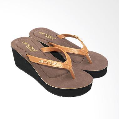 Ando Scarlet Sandal Jepit Wedges Wanita - Coklat