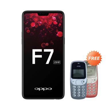 OPPO F7 Smartphone - Black [64GB/ 4GB] + Free Prince PC-5 Handphone