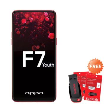 OPPO F7 Youth Smartphone - Red [64GB/ 4GB] + Free Flashdisk 16 GB