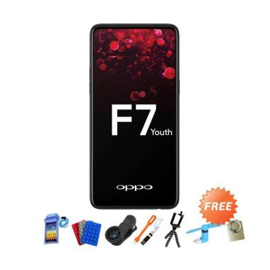 OPPO F7 Youth Smartphone - Black [64GB/ 4GB] + Free Aksesoris 10 pcs