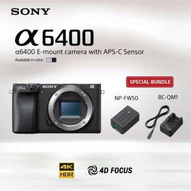 harga SONY Alpha a6400 Kit / ILCE-6400L Kamera Mirrorless Lensa E 16-50mm F3.5-5.6 OSS Bundling NP-FW50+BC-QM1 Black Blibli.com
