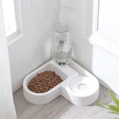 harga MierrPet Tempat Makan Anjing Kucing Automatic Pet Food & Water Dispenser PET0641 - White white Blibli.com
