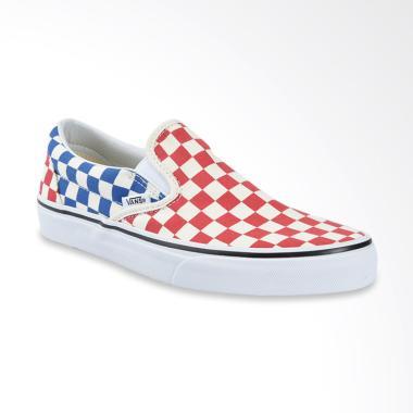 Vans UA Classic Checkerboard Slip-On Sepatu Pria - Red Blue