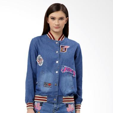 MKY Clothing Patched Denim Baseball Jacket - Blue Maroon