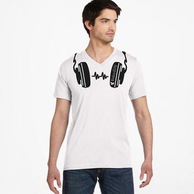 Nakedlily Earphone Cut T-Shirt Pria - White