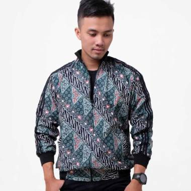 Batik Distro Motif Batik Lengan Strip Jaket Pria - Hijau [T1283]