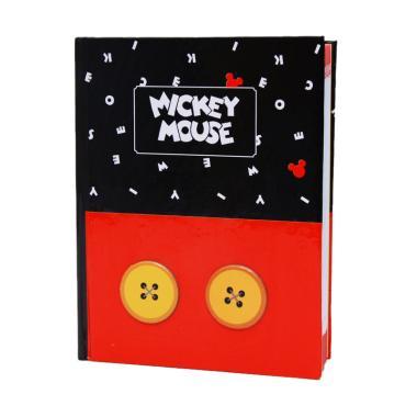 Adinata Mickey Button Diary Emboss Buku Catatan - Hitam