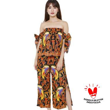 Flike Store Sabrina Ribbon Slit Pants Black Papua Set Batik Wanita