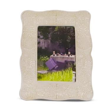 VIVERE Deco Flowery Photo Frame - Cream [4 x 4 Inch]