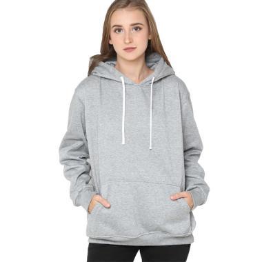 Hoodieku Hoodie Jumper Basic Sweater Wanita - Abu Misty