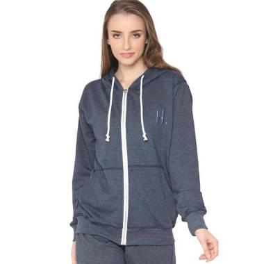Hoodieku Zipper Lifestyle Jacket Wanita - Navy Misty