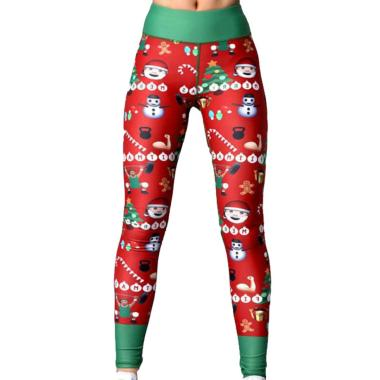 harga Bluelans 4 Christmas Women Snowman Santa Claus Stripe Print Leggings Stretch Yoga Pants Blibli.com