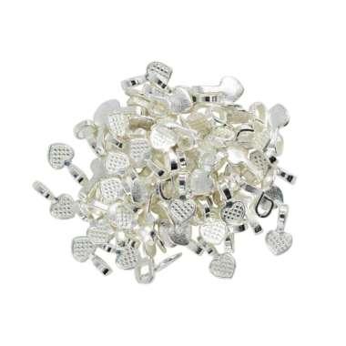 harga 100pcs Silver White Glue on Heart Bails Pendant Jewelry Design Pendant Craft Blibli.com