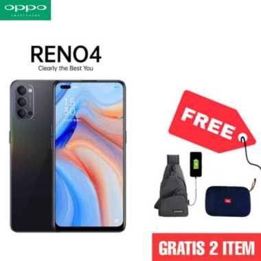 harga OPPO Reno4 Smartphone [128GB/ 8GB] + Tas Slempang + Free Speaker Bluetooth HITAM Blibli.com
