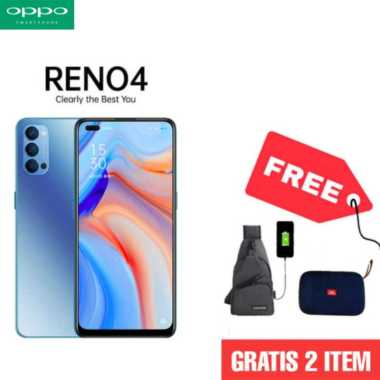 harga OPPO Reno4 Smartphone [128GB/ 8GB] + Tas Slempang + Free Speaker Bluetooth BIRU Blibli.com