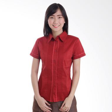 Adore Ladies Kemeja Lengan Pendek Neci Atasan Wanita - Red