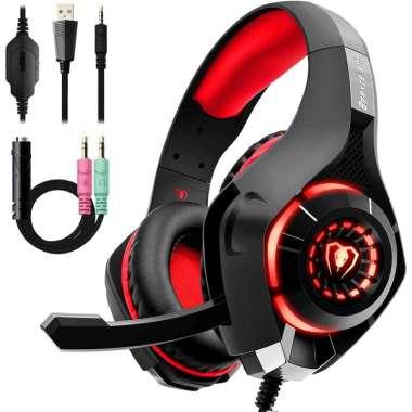 harga Headphone Headset Gaming dengan Lampu LED dan Mic Beexcellent - GM-1 Merah Blibli.com