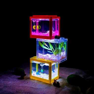 harga Aquarium Mini Lego Block 4 Windows 12x8x10cm White LED Blibli.com