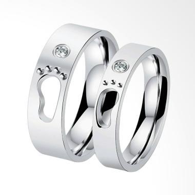 CDHJewelry CC030 Cincin Couple Titanium Anti Karat (Female 7 & Male 9)